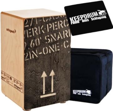 Schlagwerk CP 404 BLK 2inOne Snare Cajon Large + Keepdrum Gig Bag + Pad CP-01 - 1